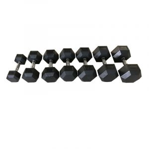 Blitz Fitness Hex Rubber Dumbbells