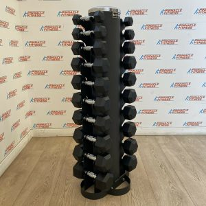 hex rubber dumbbell set
